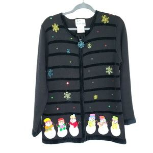 The quaker factory Christmas cardigan size small